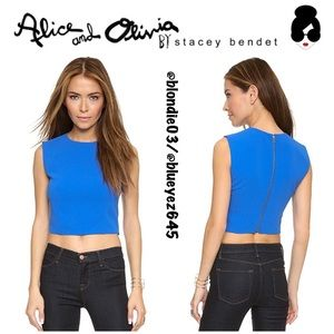 """Alice + Olivia """"Klynn"""" blue crop top M"""
